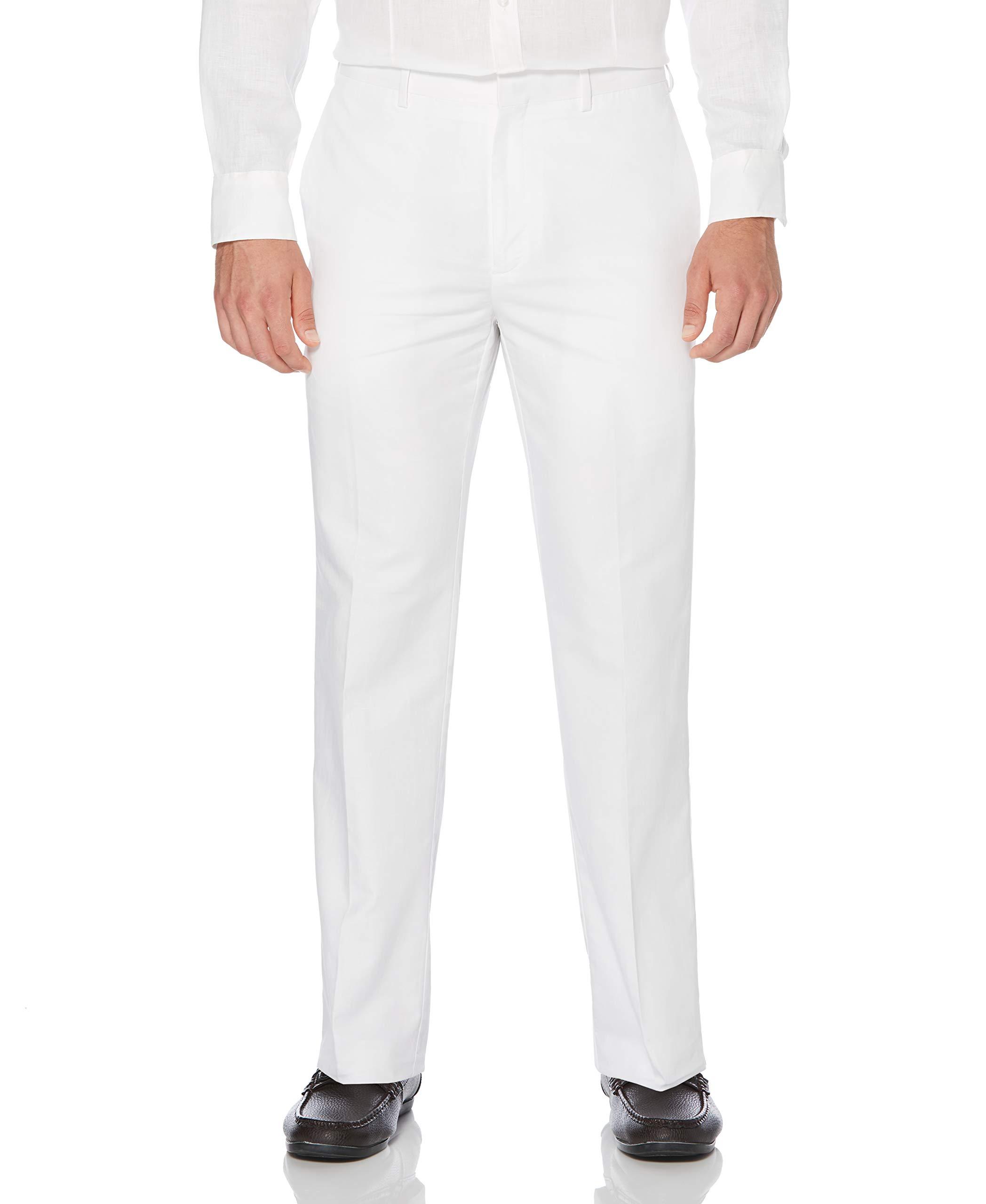 Cubavera Men's Big and Tall Linen-Cotton Herringbone-Textured Pant, Bright White, 46W X 30L