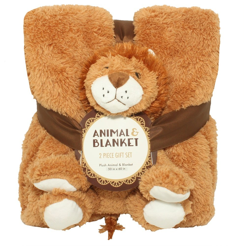 Silver One Sherpa Plush Stuffed Animal and Throw Blanket 2 Peice Gift Set for Kids/Children | 50'' x 60'' Soft Plush Throw | Get Well Gifts Tan Lion