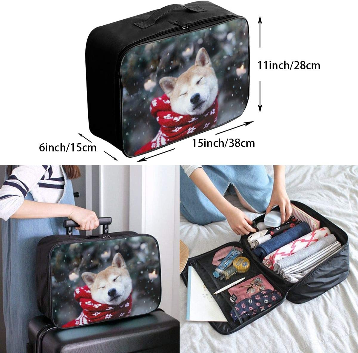Dog Travel Carry-on Luggage Weekender Bag Overnight Tote Flight Duffel In Trolley Handle