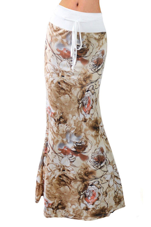 Women Fashion Summer Printed High Waisted Beach Maxi Skirts Long Skirt(White Lily), M