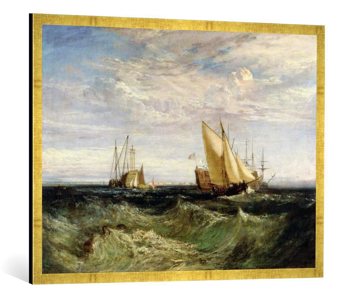 Gerahmtes Bild von Joseph Mallord William Turner A Windy Day, Kunstdruck im hochwertigen handgefertigten Bilder-Rahmen, 100x70 cm, Gold Raya