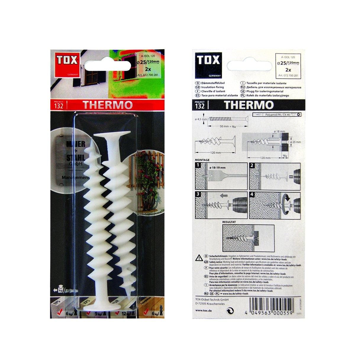2 St/ück 072700281 TOX D/ämmstoffd/übel Thermo 120 mm