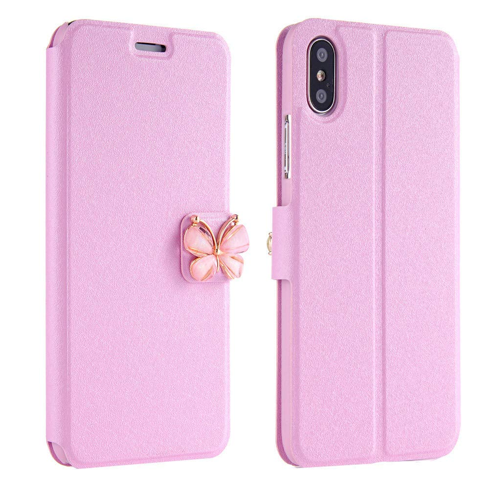 Women Girls Flip Case Cover Leather Wallet Magnetic Case Cover Skin for iPhone Xs 5.8inch/Max 6.5inch/XR 6.1inch (iPhone Xs 5.8inch, Pink)