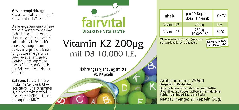 Vitamina K2 200 mcg con D3 10000 IU Depot - Bote - Alta dosificación - 90 caps - solamente 1 cápsula cada 10 días: Amazon.es: Salud y cuidado personal