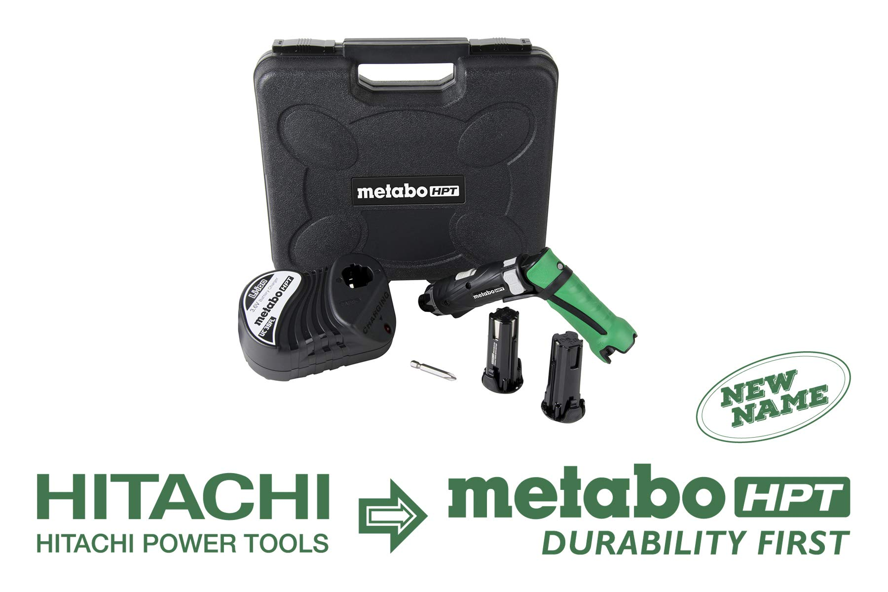 Metabo HPT DB3DL2 3.6V Cordless Screwdriver Kit, 2 Lithium Ion Batteries, Dual Position Handle, LED Light, 21 Clutch Settings, Forward/Reverse, Lifetime Tool Warranty by Metabo HPT