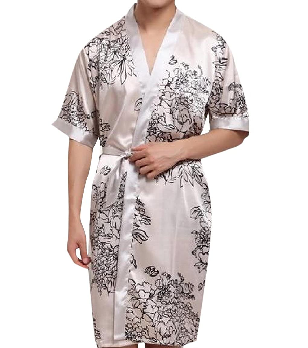 AngelSpace Mens Belted Design Silky Mid Long Floral Printed Long Robe