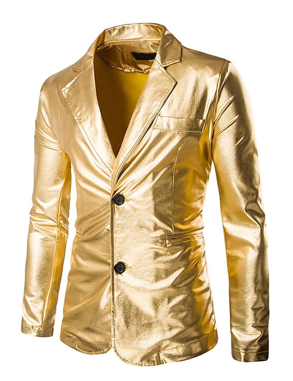 ZEROYAA Mens Slim Fit Shiny Metallic Two Button Suit Jacket/Night Club Blazer