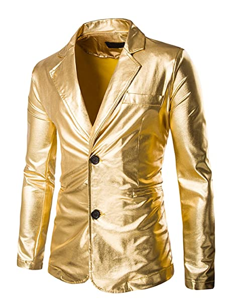 Men's Vintage Style Coats and Jackets ZEROYAA Mens Slim Fit Shiny Metallic Two Button Suit Jacket/Night Club Blazer $39.95 AT vintagedancer.com