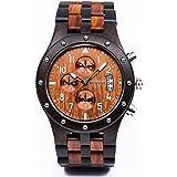Bewell W109D Sub-dials Wooden Watch Quartz Analog Movement Date Wristwatch for Men