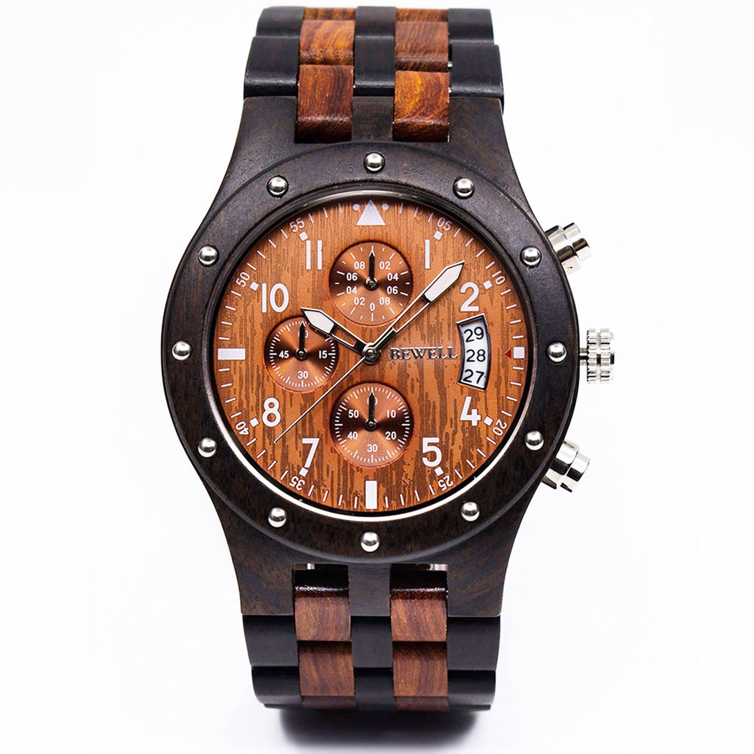 wood bamboo watches product automatically custom band detail