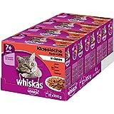 Whiskas Katzenfutter 7+ für Katzen ab 7 Jahren und älter - saftige Fleisch-Auswahl in Gelee / 48 Portionsbeutel (4 x 12 x 100g)