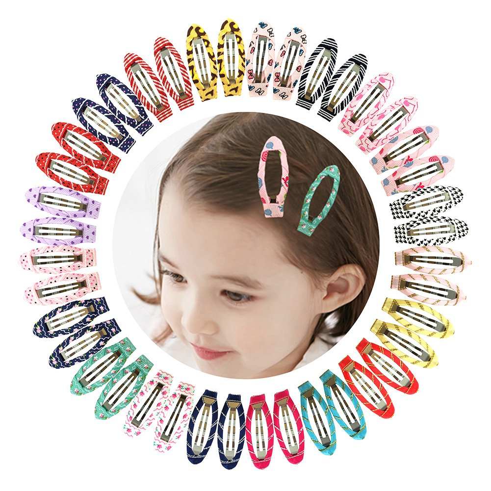 Ruyaa 2'' Snap Clips No Slip Wrapped Hair Barrettes for Toddlers Girls Kids Women Hair Accessories (40pcs Assorted)