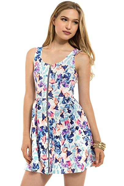 7caa138a716 Teeze Me Juniors Sleeveless Floral Fit and Flare Dress Off White Blue at  Amazon Women s Clothing store