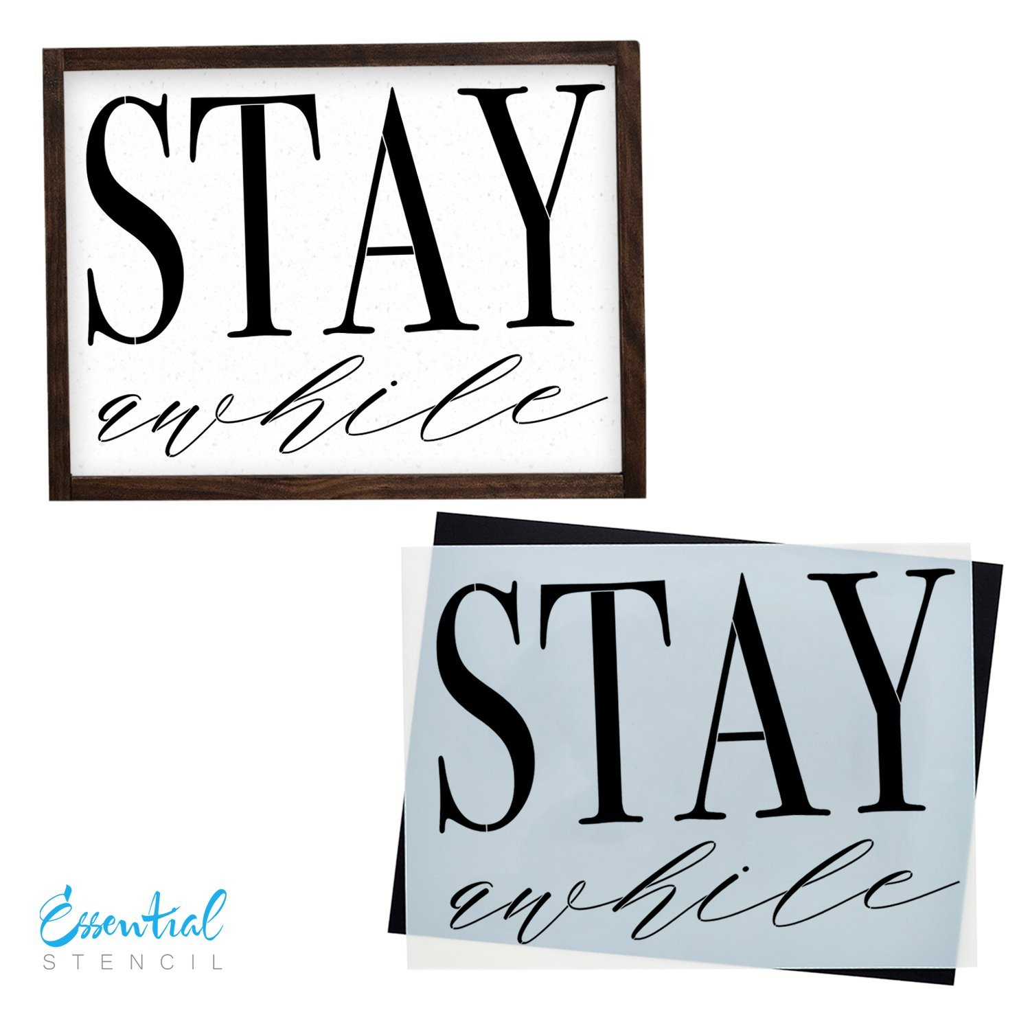 Stay Awhile Sign Stencil | Perfect for Painting On Wood, DIY French Country Home Decor Calligraphy Signs, Rustic Decor for Farmhouse, Fixer Upper, Joanna Gaines, Magnolia Style Essential Stencil 4336893785