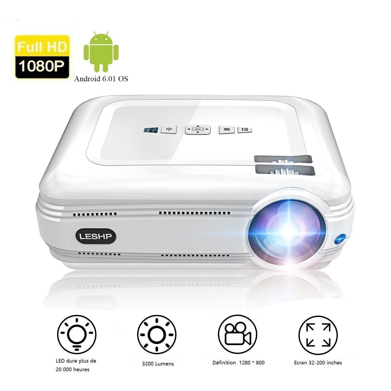 Proyector de Vídeo, LESHP LED Proyector Portátil con Sistema Android 3200 lumens Full HD 1080p proyector para Home Cinema (Altavoz Incorporado, con ...