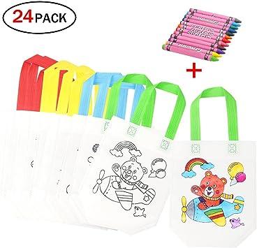 Image of DIY Bolsas Infantiles para Colorear, 12 Diferentes Diseño + 12 Pasteles de Aceite Ideal para Regalos Bolsas para niños