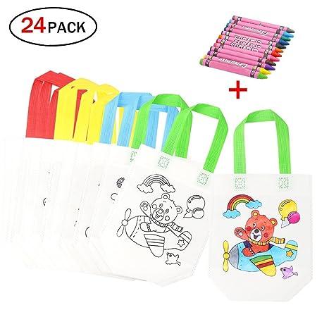DIY Bolsas Infantiles para Colorear, 12 Diferentes Diseño + 12 Pasteles de Aceite Ideal para Regalos Bolsas para niños