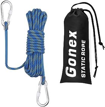 Gonex Cuerda Escalada Estática, Paracord Correa de Seguridad Escalar al Aire Libre Accesorios Rappel Protección Senderismo Escape Incendio, 8mm de ...