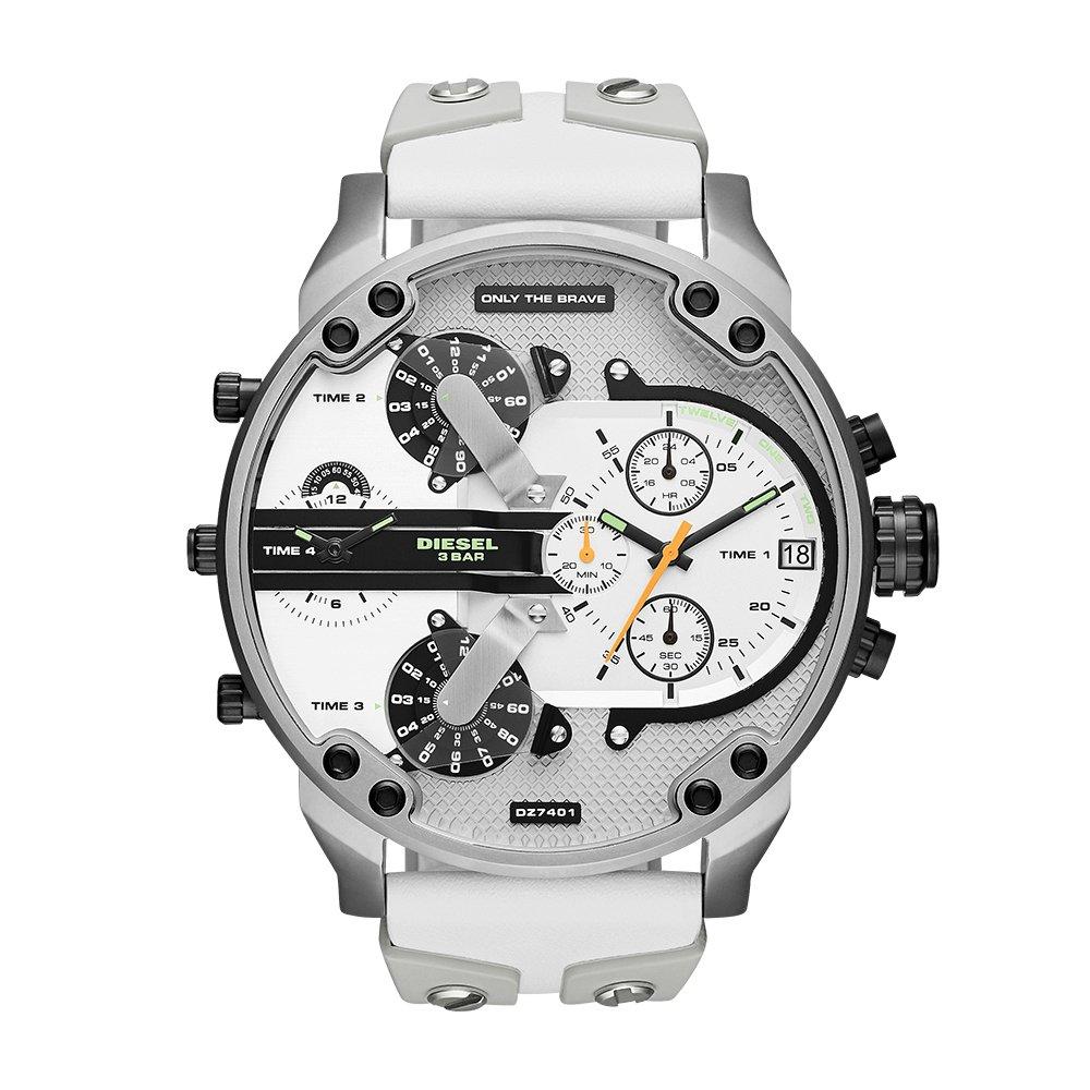 Diesel Men's DZ7401 Mr Daddy 2.0 White Leather and Silicone Watch