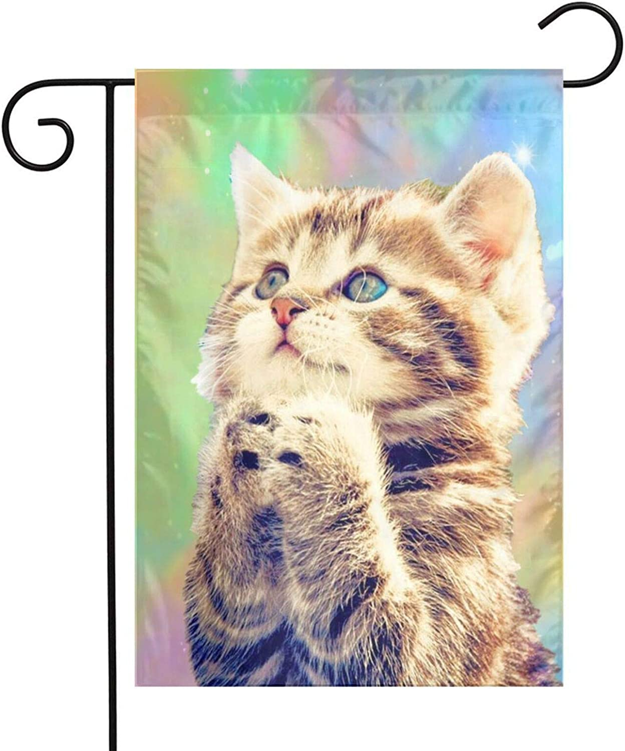 Txocouk Space Cat Welcome Garden Flag Double Sided,Decorative Garden Flag Yard Banner for Outdoor Decorations(12x18in)