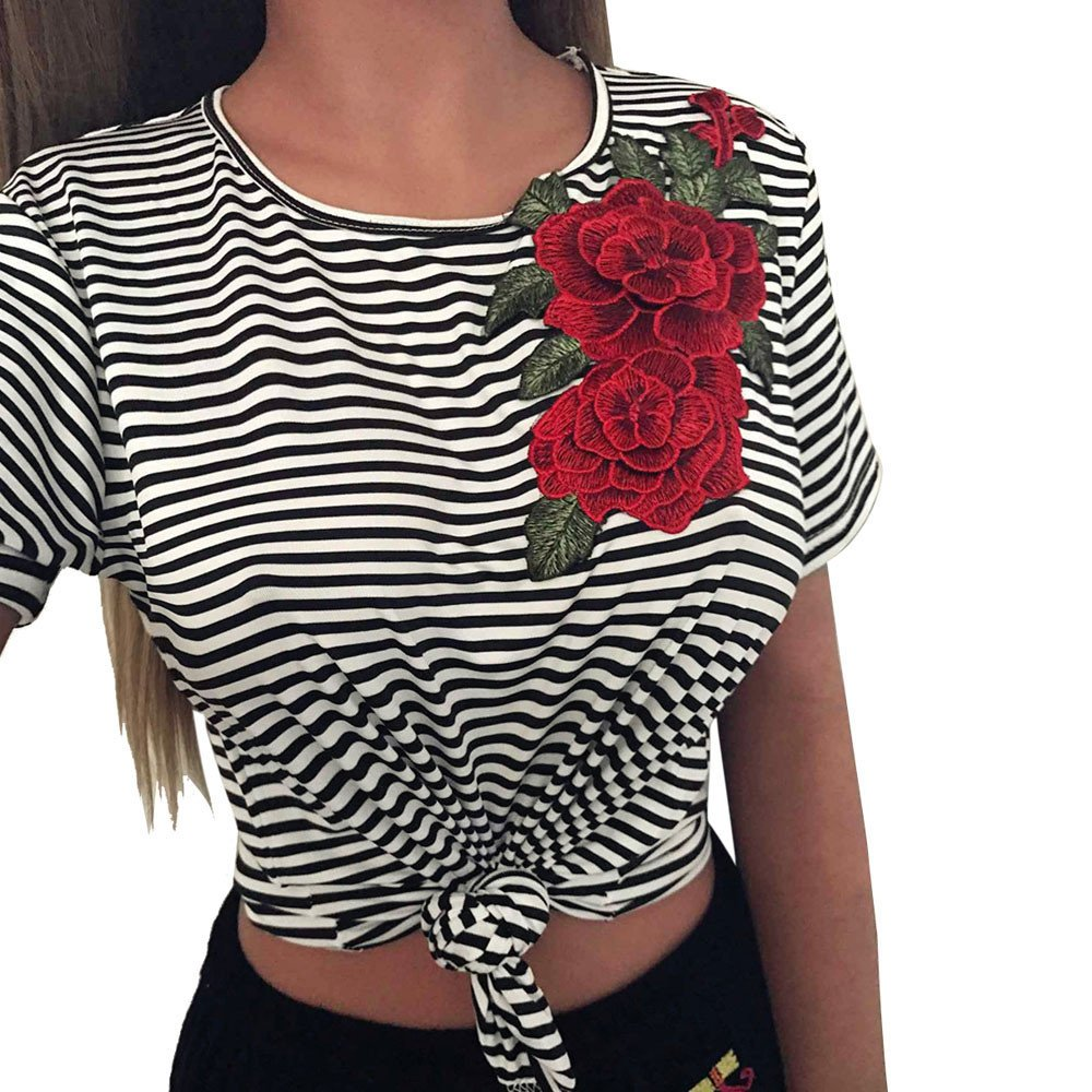 LEvifun Clearance Women Stripe Appliques T-Shirt Lady Floral Short Sleeve Front Knotted Tops Blouse On Sale charminglady-01