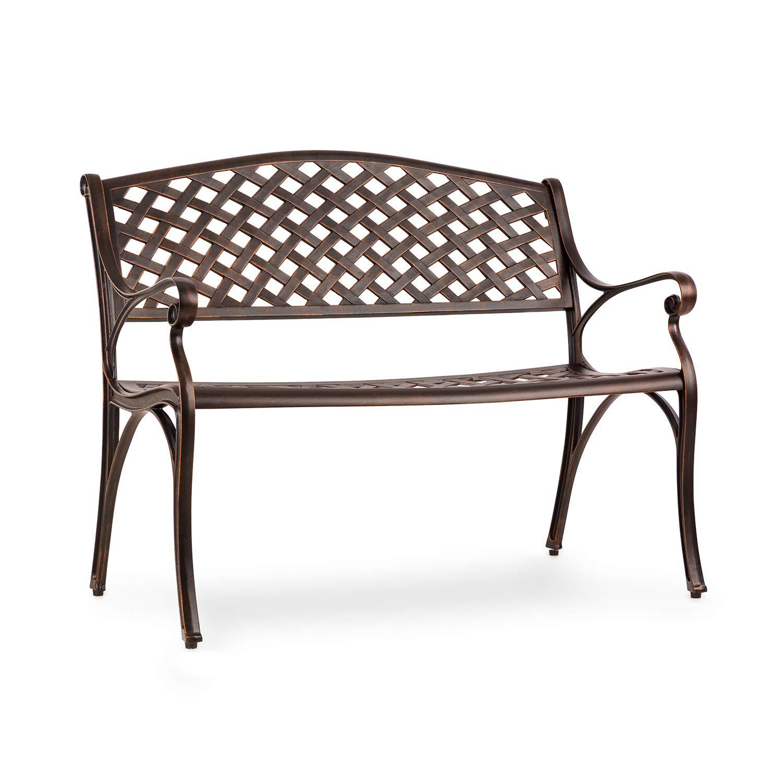 blumfeldt Pozzilli AN Gartenbank - Material: Aluminiumguss, witterungsbeständig, Platz für 2 Personen, separat erhältliches Sitzkissen, antik-Kupfer