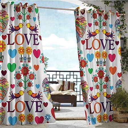 Cortina de privacidad para exteriores para pérgola de amor, boho hipster boceto, estilo artístico, frases, estrellas,
