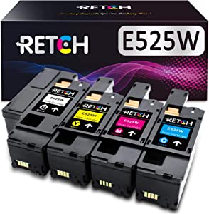 RETCH Compatible Toner Cartridge Replacement for Dell E525w E525 525w 525 for E525w Wireless Color Printer for 593-BBJX 593-BBJU 593-BBJV 593-BBJW (1 Black 1 Cyan 1 Magenta 1 Yellow)