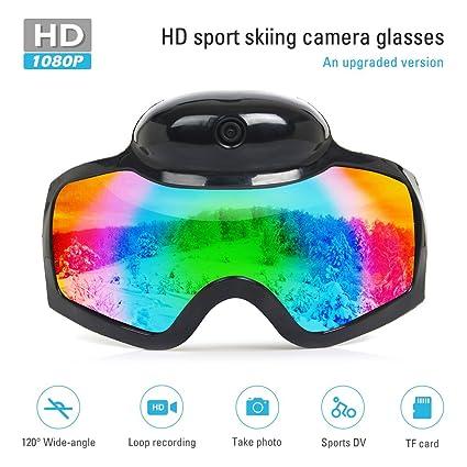 YAOAWE - Gafas de esquí para Exteriores, Mini cámara Oculta, Full HD 1080P,
