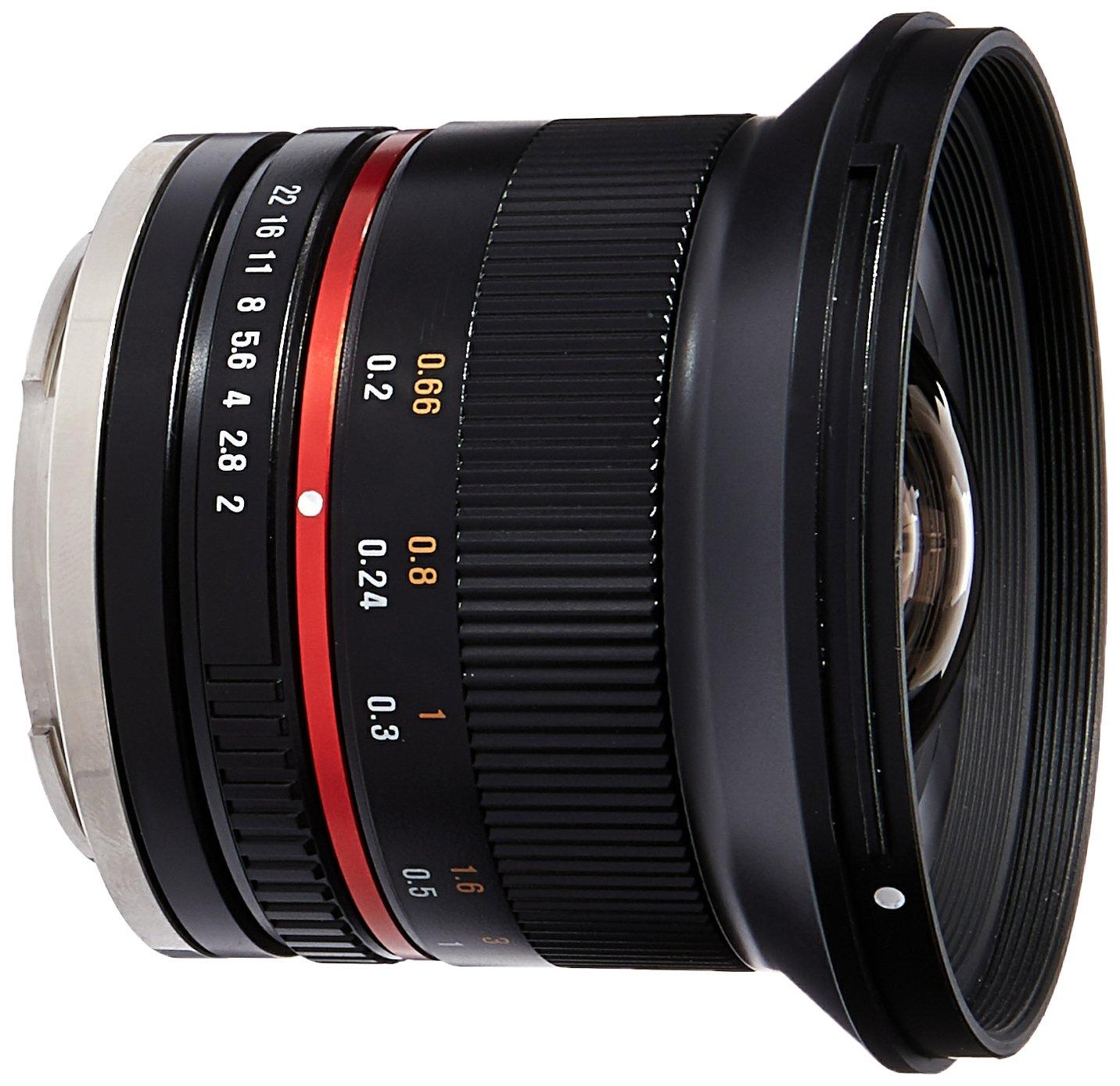 Samyang SY12M-E-BK 12mm F2 0 Ultra Wide Angle Lens for Sony E Cameras, Black