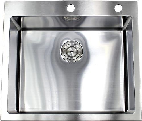 25 Inch Top-mount Drop-in Stainless Steel Kitchen Island Sink 15mm Radius Design