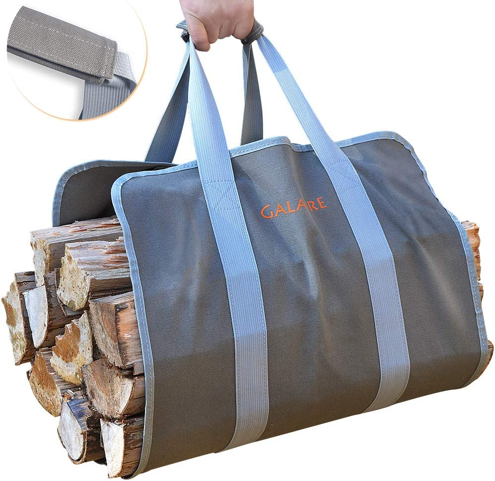 Amazon Com Galafire Wood Carrier For Firewood With Handles Canvas Firewood Sling Premium Quality Foldable 16oz Heavy Log Tote Home Kitchen