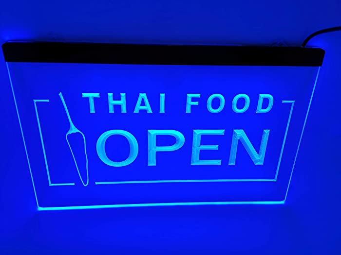 blue thai food open Beer Bar led neon sign