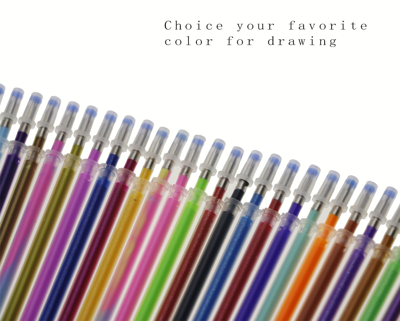 Drawing Scrapbooking 100 Pack Gel Pen Refills Glitter Metallic Pastel Fluorescence Neon Pen Ink Refills for Adult Coloring Books