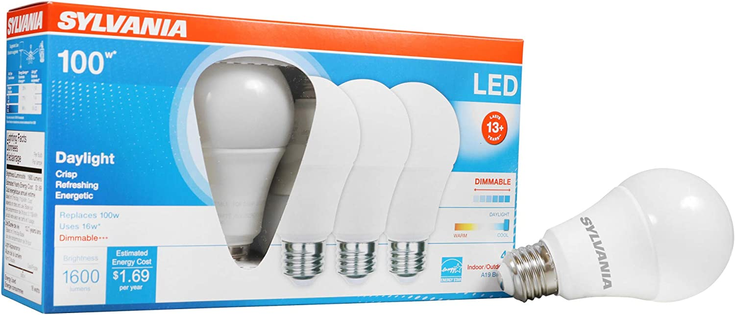 SYLVANIA 40739 LED A19 Light Bulb, 100W Equivalent Efficient 16W, Medium Base, Dimmable Frosted 5000K Daylight, 4 Pack