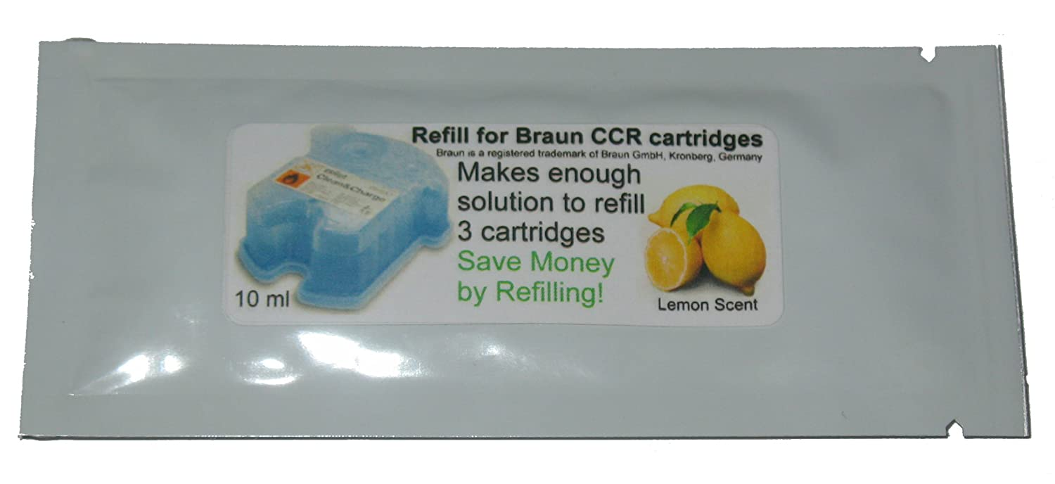 Refill Solution for Braun Clean & Renew CCR3 Shaver Cartridges (Lemon, 1 Packet (3 refills))