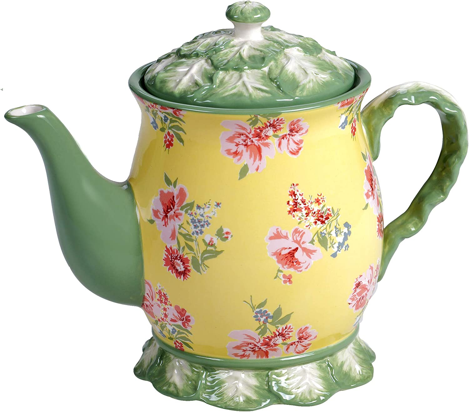 Certified International English Garden Teapot, 38 oz, Multicolored