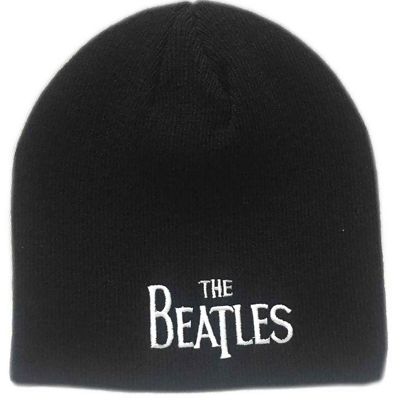 The Beatles Beanie Hat Classic Drop T Band Logo Official Black