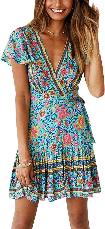 Vintage Womens V-neck Long Sleeve Boho Floral Short Mini Dress Beach Sun Dresses
