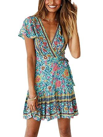 ebbd9b4d9ad TEMOFON Women s Dresses Summer Bohemian Vintage Floral Printed Ruffle Hem Short  Sleeve V-Neck Mini