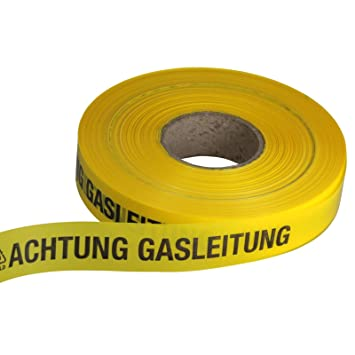 Achtung Gasleitung 1 Rolle á 250 Meter Trassenwarnband // Warnband 40mm