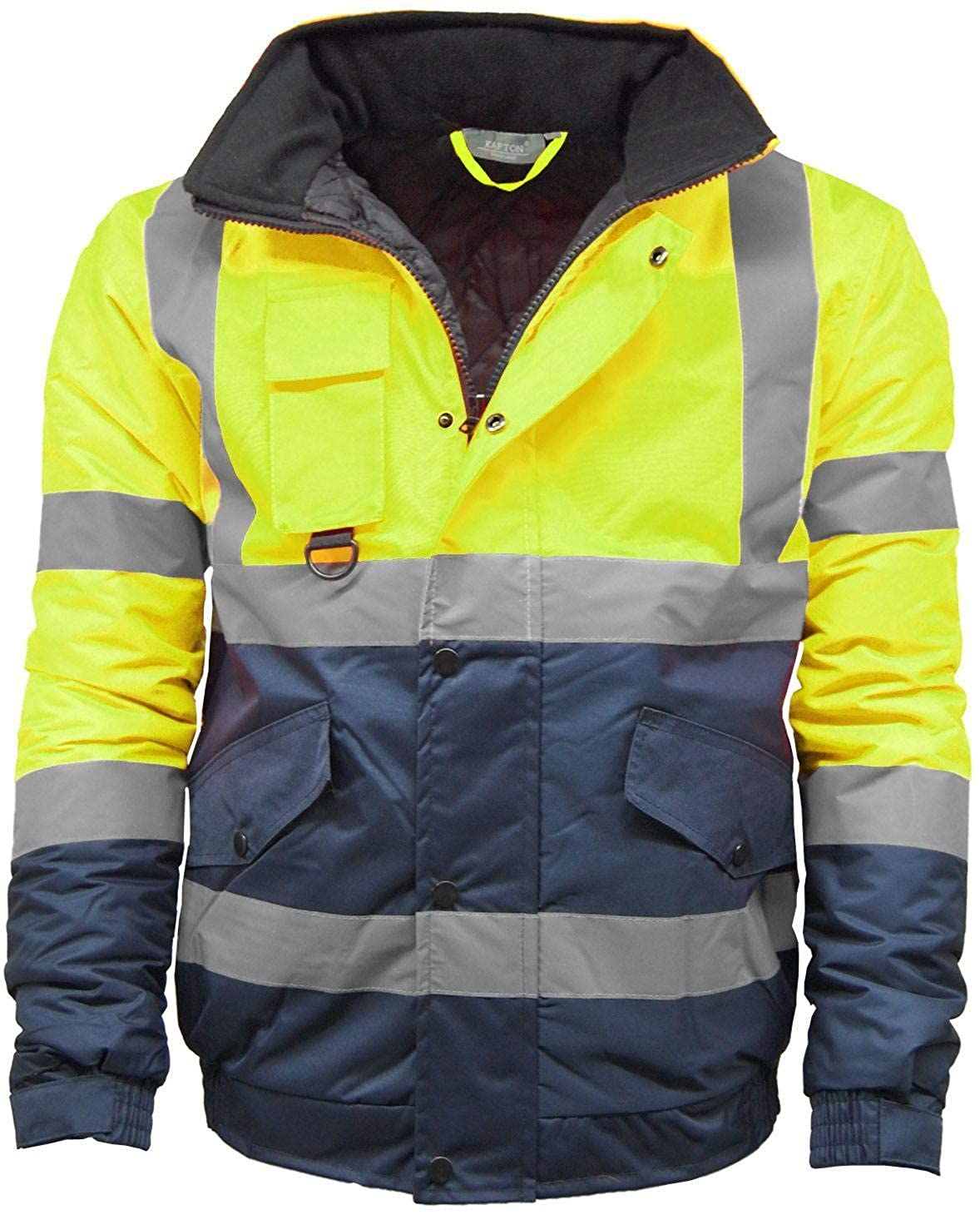 Kapton Mens Waterproof Hi Visibility Two Tone Safety Quilted Bomber Jacket Standard Safety Work Wear Jackets HV301.