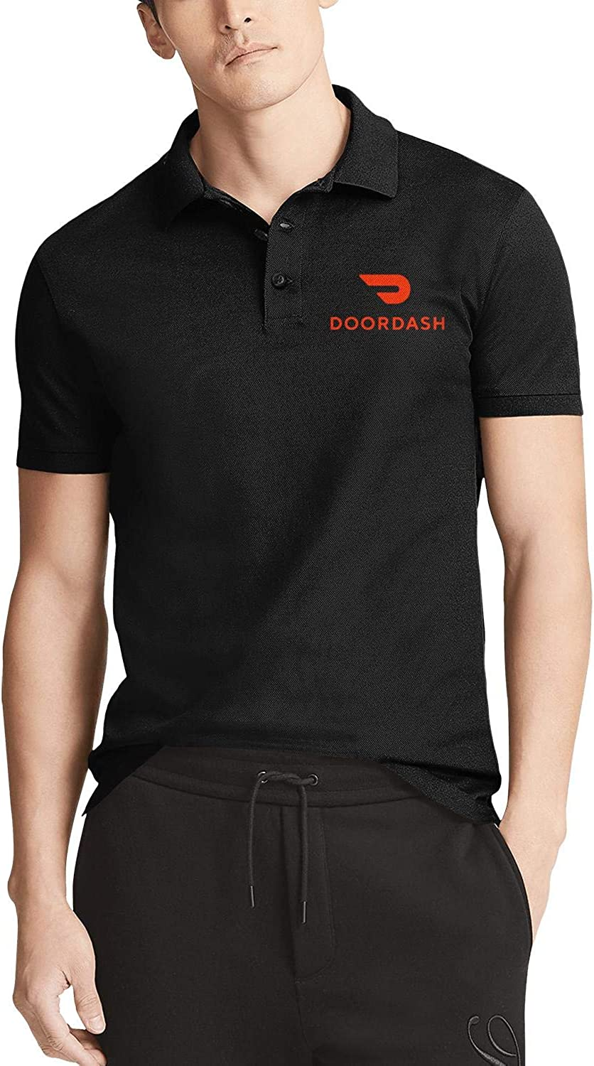 Mens Casual Polo T Shirts Personalised Crazy Doordash-Order-Food-Online-red- Fashion Work Uniform Urban