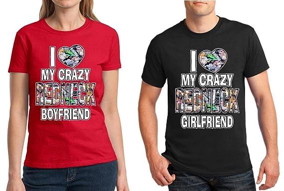 651df65693 Matching Couples Shirt I Love My Crazy Redneck Boyfriend Girlfriend Red -  Black Men Large/