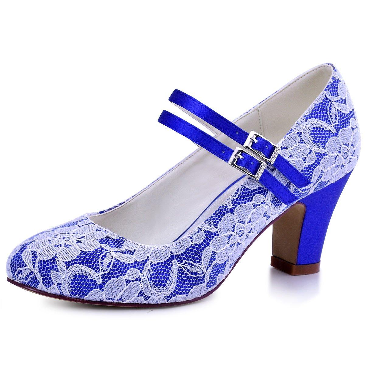 Elegantpark HC1708 Mujer Bloquear Heel Mary Jane Pumps Hebilla Satén Cordones Zapatos de Novia 39 EU