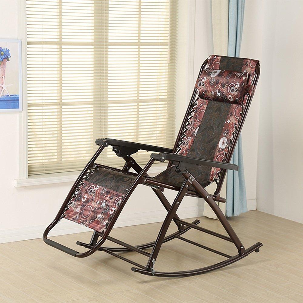 XXHDYR Alter Mann Schaukelstuhl Klappstuhl Siesta Stuhl Zu Hause Stuhl Mittagspause Liege Klappstuhl (Farbe : 1002)