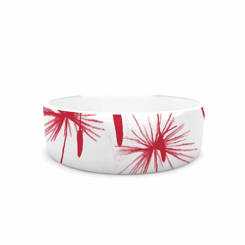 KESS InHouse Suzanne Carter Dandelion  Red Floral Pet Bowl, 7