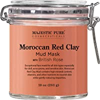 MAJESTIC PURE Moroccan Red Clay Facial Mud Mask with British Rose - Natural Skin...
