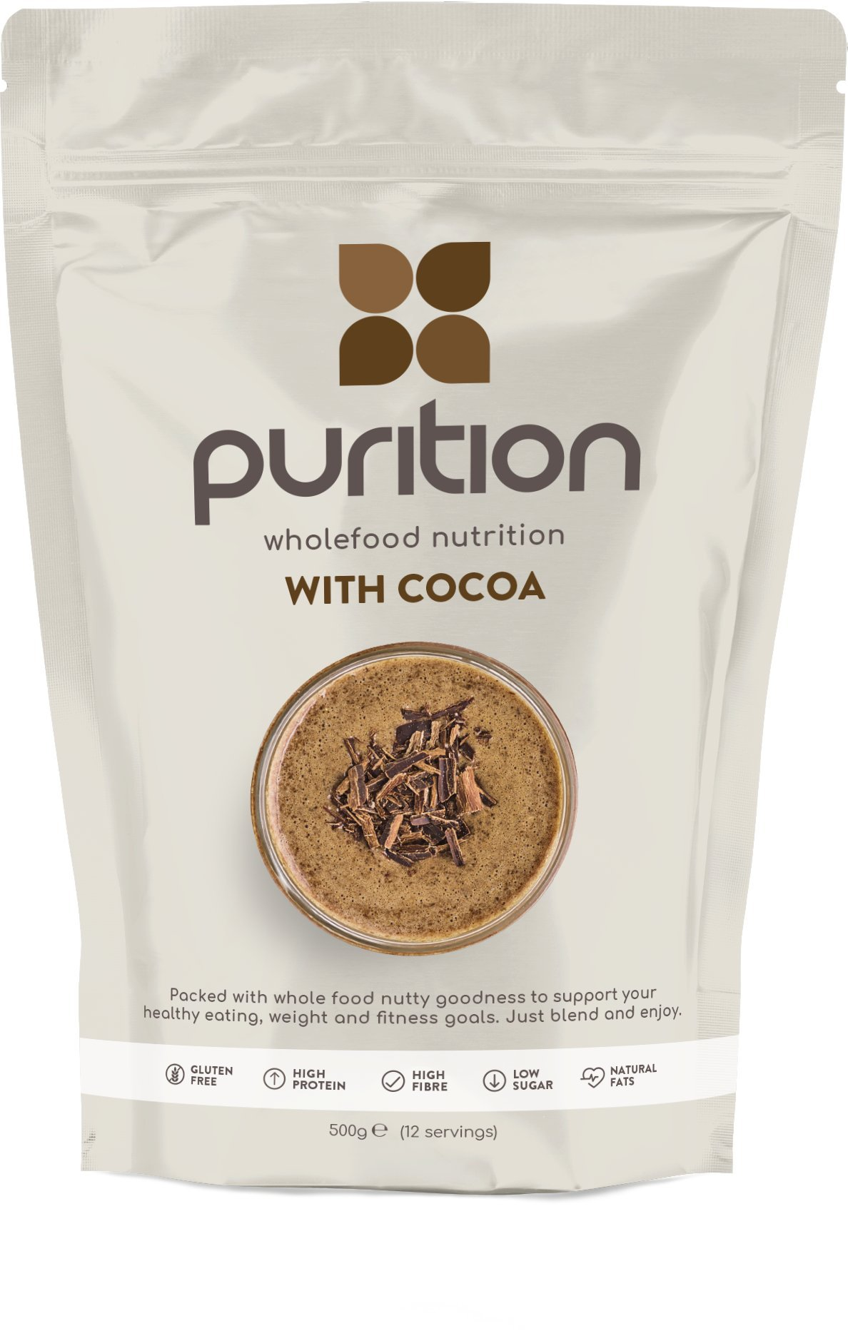 Purition Batido de proteínas de Chocolate (500g). Batido para el desayuno product image
