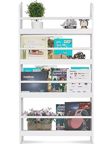 HOMFA Estantería de pared Estantería infantil para Libros, Revistas y Prensas con 4 Estantes Librería